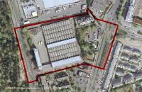 "Example of an accelerated procedure, aerial view 2009 – section of the development area with area of scope prior to execution of legal zoning plan no. 868 Giessener Strasse – former Deutsche Post site"" © Frankfurt/Main City Planning Department"