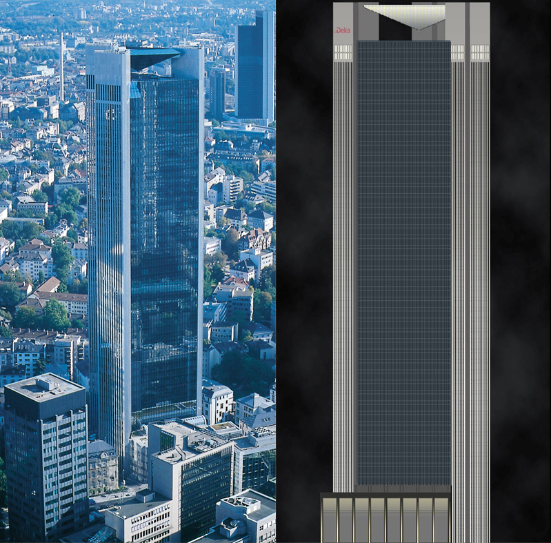 Montage of the Trianon, on the left: in the day-time, © Stadtplanungsamt Frankfurt am Main, on the right: at night, Simulation: Dietz Joppien ArchitektenAG mit luna lichtarchitektur macina, © Stadtplanungsamt Stadt Frankfurt am Main