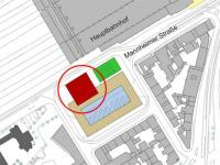 The layout plan indicates one potential high-rise location (shown in red), © Stadtplanungsamt Stadt Frankfurt am Main