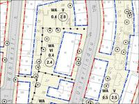 "Example of zoning entered by hand, excerpt from development plan no. 841 ""Bockenheimer Landstraße / Liebigstraße"", © Stadtplanungsamt Frankfurt am Main"